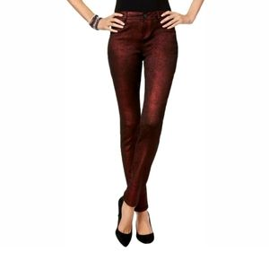 INC Denim Skinny Leg Regular Fit Pants Size 4 Wine
